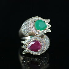 TURKISH HANDMADE EMERALD RUBY STERLING SILVER 925K RING SIZE ADJUSTABLE