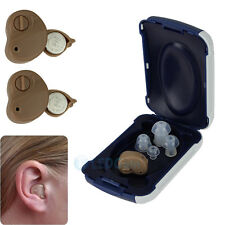 2 x Small In Ear Invisible Best Sound Amplifier Adjustable Hearing Aids Aid
