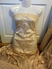 "1 MTR LIGHT GOLD SCALLOPED BRIDAL EMBROIDERED LACE NET FABRIC...52"" WIDE £8.99"