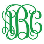 Three Letter Vine Monogram Decal Sticker - TONS OF OPTIONS