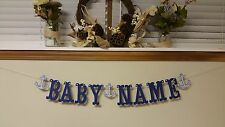 Personalized Boy Anchor Baby Name Banner Gender Reveal Baby Shower Decoration