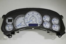 99-01 02 REBUILT CADILLAC ESCALADE WHITE GAUGE CLUSTER W/BLUE NEEDLES *EXCHANGE*