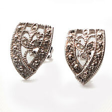 VINTAGE RETRO STYLE GENUINE NATURAL DIAMOND SOLID 10K WHITE GOLD STUDS EARRINGS