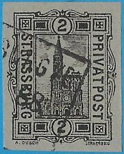 + 1888 Strassburg Germany/France Cathedral 2pf Imperf.Private Local Post used