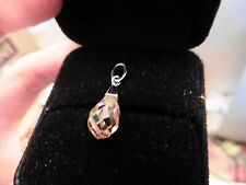 sterling silver 925 pendant for a necklace crystal faceted tear drop pear pink