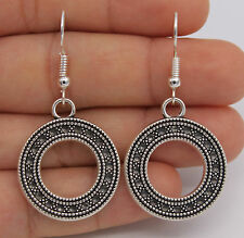 Awesome New Artistically Carved Round Circle Disc Hook Dangle Drop Earrings