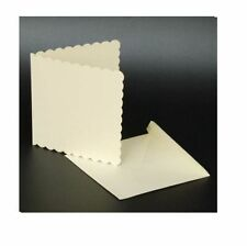 "25 IVORY SCALLOPED 7"" x 7"" BLANK CARDS 270gsm & ENVELOPES CARD MAKING CRAFT 1077"