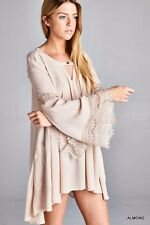 CHIC Jodifl LACE TRIM Almond Flowy Trapeze BELL SLEEVE Long Tunic Top Dress M