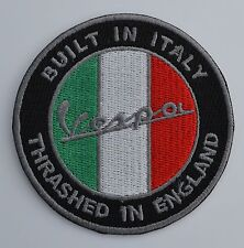 Vespa Thrashed In England Embroidered Iron On/Sew On Patch