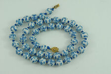 Vintage Chinese Blue And White Porcelain Bead Necklace with Bats And Cloud