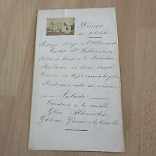 MENU ORIGINAL 1910 AVEC PHOTO COLLEE CHATEAU