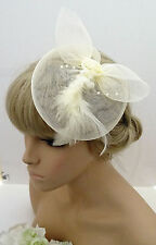 Gorgeous Cream Mesh Net Bow Fascinator Hair Grip with pearlised Beads & Rosette
