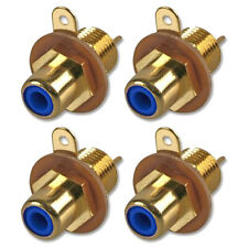 RCA Phono Chassis Panel Mount Gold Plated Female Socket Connector Blue x 4