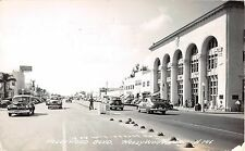 1949 RPPC Early Cars Stores Bank & Post Office Hollywood Blvd. Hollywood FL