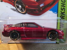 HOTWHEELS BURGUNDY '96 NISSAN 180SX TYPE X CAR SCALE 1/64 ON LONG CARD