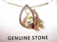 18 Kt Gold Over 925 Sterling Silver Genuine Stone Necklace