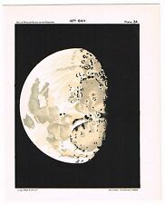 ANTIQUE PRINT VINTAGE 1925 ASTRONOMY STAR MAP CHART MOON 10TH DAY MATTE BLACK