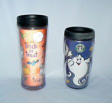 STARBUCKS COFFEE PAIR SET OF 2 MIS MATCH HALLOWEEN TRAVEL TUMBLERS