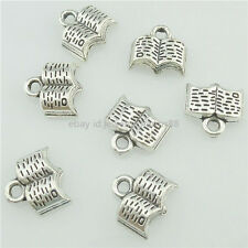 15707 50PCS Alloy Antique Silver Vintage Book Pendant Charm Jewelry Fashion