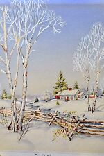 ORIGINAL ILLUSTRATION ART  FOR 1940'S CHRISTMAS CARD BY AM. GREETINGS