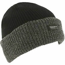 Mens Thinsulate Lined Insulated Winter Ski Beanie Hat Black Ribbed Chunky Knit