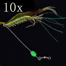 10pcs/lot Fishing Soft Shrimp Prawn Worm Bait Lure Saltwater Squid Night Glow