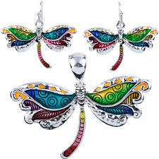 Colorful Enameled Dragonfly Pendant and Earrings Set NO Chain Gift Boxed