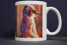 UNIQUE 350ml MUG WITH EMBEDDED IMAGE OF ORIGINAL PAINTING: Meerkat Magic
