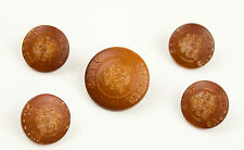 Vintage Oleg Cassini  lot of 5 plastic Brown logo Replacement Buttons