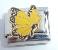 YELLOW BUTTERFLY 9mm Italian Charm - fits Classic Starter Bracelets November N14