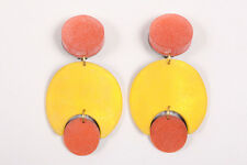 VINTAGE Red Yellow Lucite Geometric Mod Drop Clip On Earrings