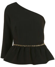 Topshop One Shoulder Sleeve Peplum Top 8 36 Spike Stud Trim Black/Gold New