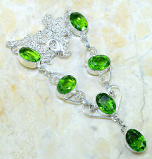 "GENUINE PERIDOT GEM NECKLACE 20 1/2"" 925 STAMPED STERLING SILVER LOVELY GIFT HOT"