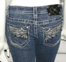 MISS ME~LOW-RISE *SIGNATURE BERMUDA* CRYSTAL JEWELED SHORTS CROP JEANS~2/26