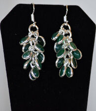 Silver Metal Green Onyx Hook Tear drop dangleEarrings Fashion Jewelry from India