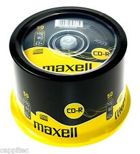 50 MAXELL CD-R 700MB 80MIN 52x MAX MATT SILVER TOP BLANK DISCS SPINDLE CAKE BOX