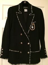 CHANEL 05C UNIQUE BLACK Tweed JACKET Multicolor Silver Trim Gold PatchFR48
