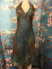 CACHE 2 TEAL/BROWN PAISLEY SILK LINED METALLIC THREADS HALTER SCARF HEM DRESS