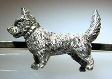 Lovely 1900s Silver Full Bodied Miniature Yorkshire Terrier Dog 9 Ct Gold Brooch