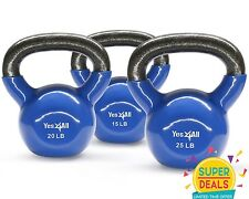 Yes4All Kettlebell Cast Iron Vinyl Coated 15 20 25 Lbs Set Fitness - ²KG5RE3