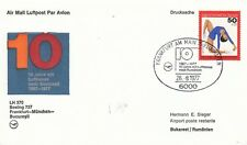 (44469) Germany Lufthansa Cover Frankfurt - Munich - Budapest 10 yrs 26 Aug 1977