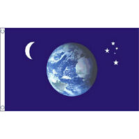 Earth, Moon And Stars Flag 5Ft X 3Ft Astronomy Space Planet Banner New