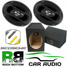 600 Watts a Pair 3-Way Car Rear Shelf 69 Speakers & 6x9 Box Enclosures HD6903A