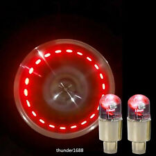 2Pcs Red LED Moto Wheel Tyre Tire Air Valve Stem Caps Light For Harley-Davidson