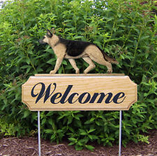German Shepherd Dog Breed Oak Wood Welcome Outdoor Yard Sign Tan w/ Black Saddle