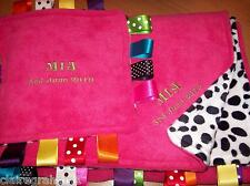 XL PERSONALISED COT/PRAM TAGGY BLANKET/GIFT IN PINK