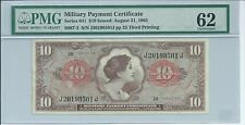 Mpc Series 641 Military Payment Certificate $10 Pmg 62 Unc 1965 501J 3rd