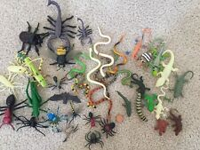 Plastic Toy Insects Lot of 41 Various Sized Bugs Spiders Beetles Snakes Insects