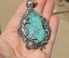 Superb Turquoise & Sterling Silver Sea Turtle,Fish,Seahorse Pendant by Som's