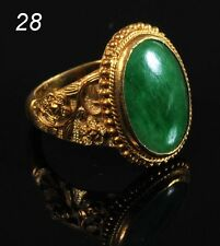 A Vintage 22K GOLD AND JADE RING late 19th/early 20th Natrual Jadeite A Grade*